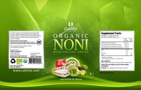 Organic Noni CaliVita (946 ml) suc de noni organic cu struguri albi, cireşe negre şi rodii organice [1]