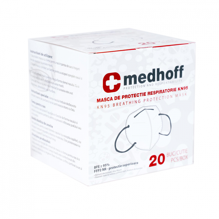 Mască cu grad de filtrare FFP2 /KN 95 Medhoff - Ambalate individual (20 bucati) 0