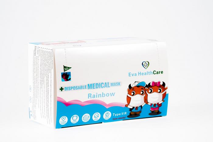 Mască Facială copii 3 pliuri Tip 2R medicala – model RAINBOW (50 bucati) 1