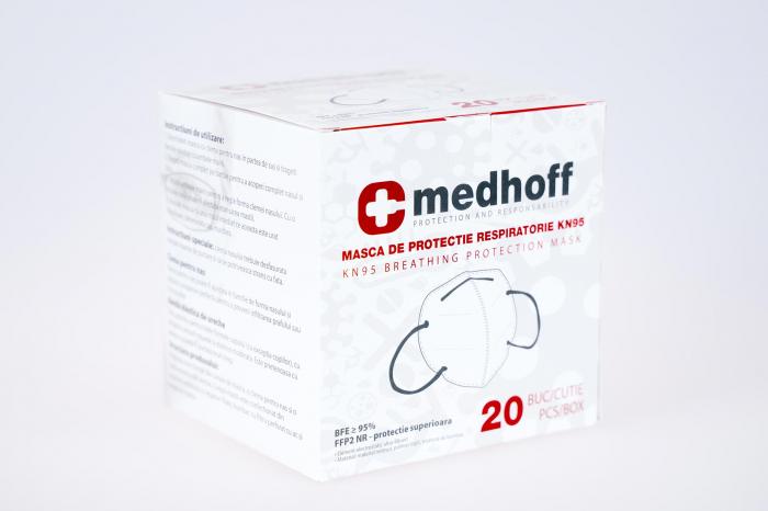 Mască cu grad de filtrare FFP2 /KN 95 Medhoff - Ambalate individual (20 bucati) 1
