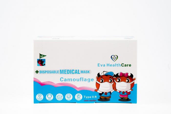 Masca faciala 3 pliuri tip 2R pentru copii - model CAMOUFLAGE (ambalat 50 buc) 1