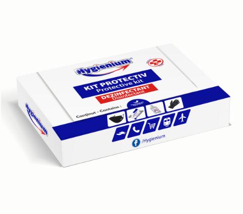 Set protectiv masca/manusi/gel dezinfectant,50 ml/servetele dezinfectante 15 buc, Hygienium 0