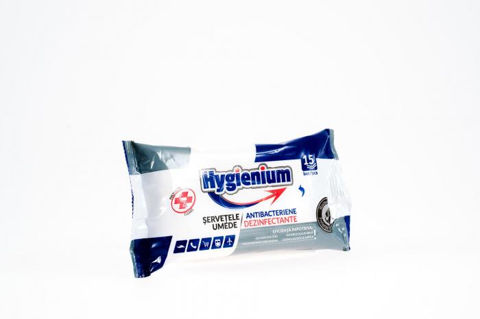 Servetele umede dezinfectante de buzunar, 15 buc/pachet, Antibacterien Hygienium [1]
