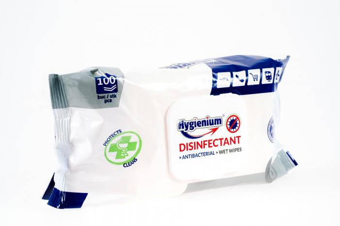 Servetele umede dezinfectante si antibacteriene,cu capac de plastic, Hygienium,100 bucati 1