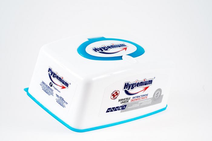 Servetele umede dezinfectante si antibacteriene Hygienium, cutie plastic,100 bucati 0