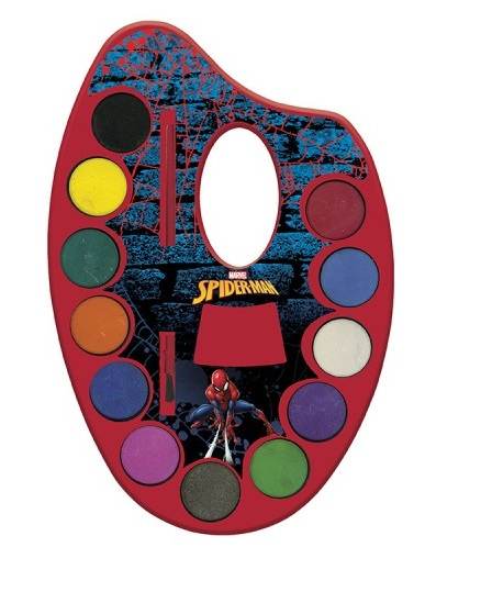 Acuarele pe paleta + pensula, 12 culori Spiderman [0]