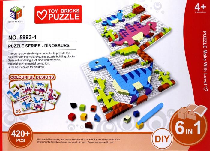 Blocuri puzzle mozaic 420 piese Dino 6 in 1 0