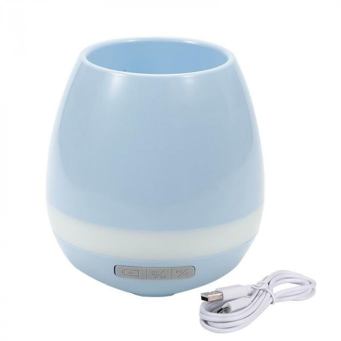 Boxa bluetooth wireless ghiveci flori bleu 0