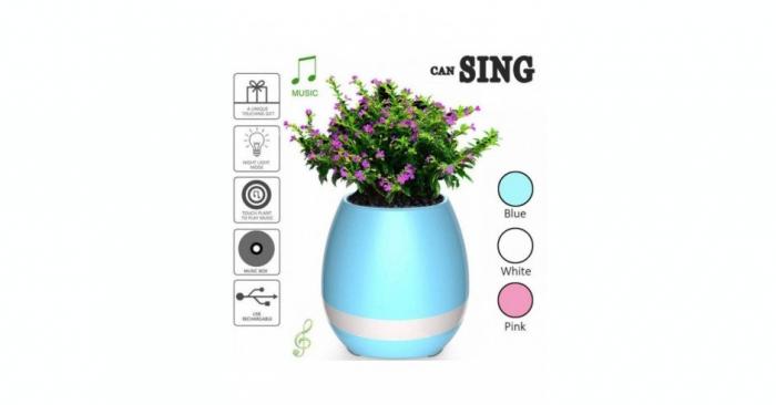 Boxa bluetooth wireless ghiveci flori bleu 2