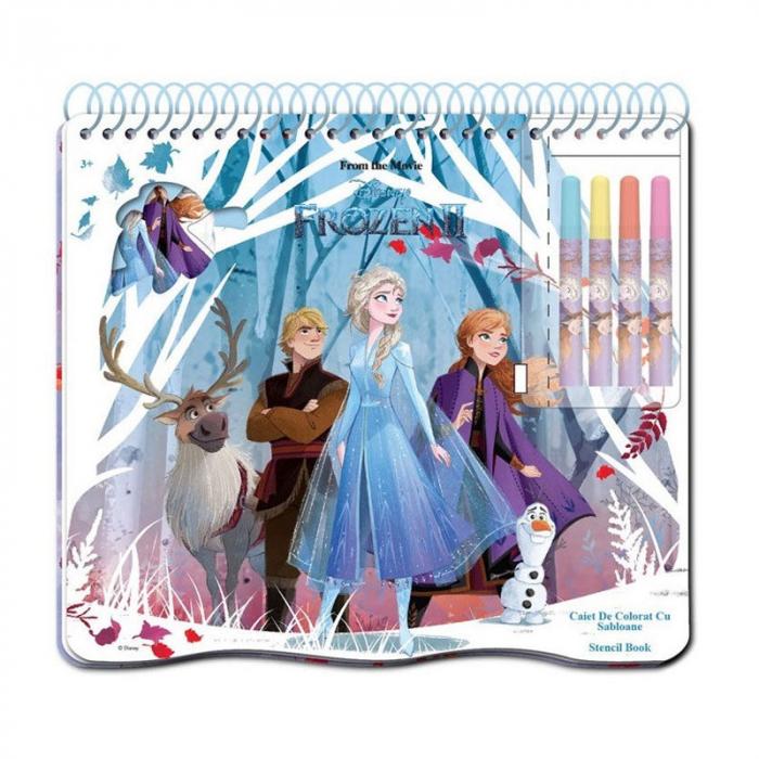 Caiet de colorat cu sabloane, Frozen 2