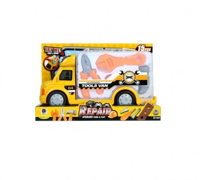 Camion galben cu trusa de reparatii 15 piese 0