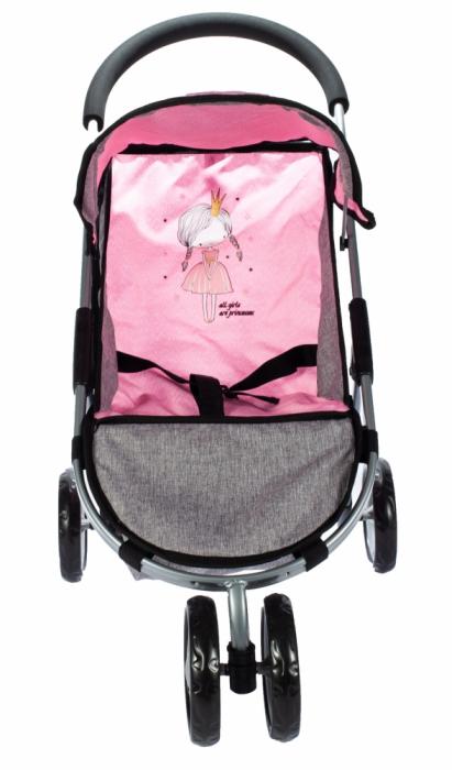 Carucior pentru papusi Little Princess Pink Grey [4]