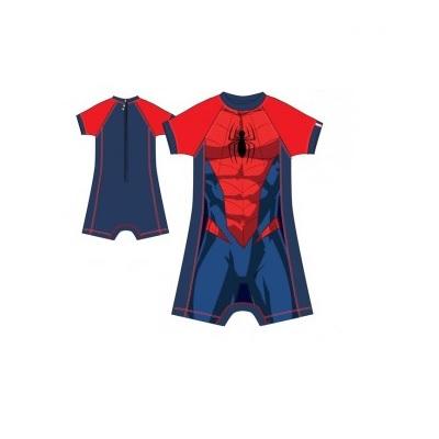 Costum de baie cu maneci scurte si fermoar,Spiderman,2 ani 1