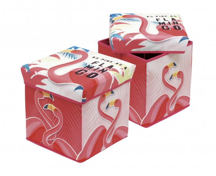 Cutie taburet depozitare jucarii Flamingo, 30x30x30 cm 0