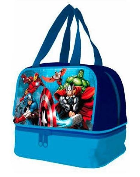 Geanta de pranz Avengers cu manere albastre 20x18.5x14.5 cm 0