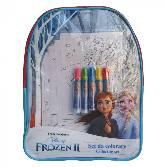 Ghiozdan transparent Frozen + accesorii, 32 cm [0]