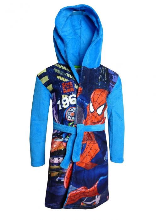 Halat baie pufos Spiderman albastru 6 ani , 116 cm 0