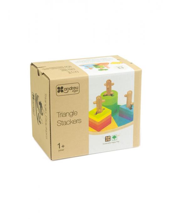 Joc de de stivuire Triunghi, forme geometrice, lemn [0]