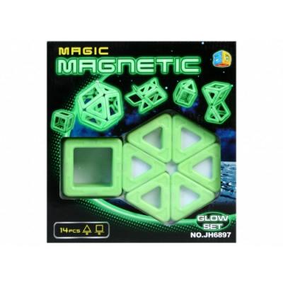 Joc de construit Magnetic fosforescent - lumineaza noaptea 14 piese 0