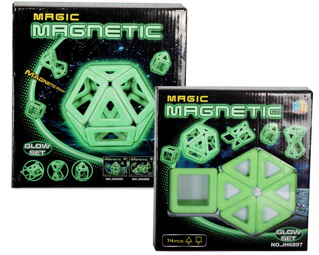 Joc de construit Magnetic fosforescent - lumineaza noaptea 14 piese 1