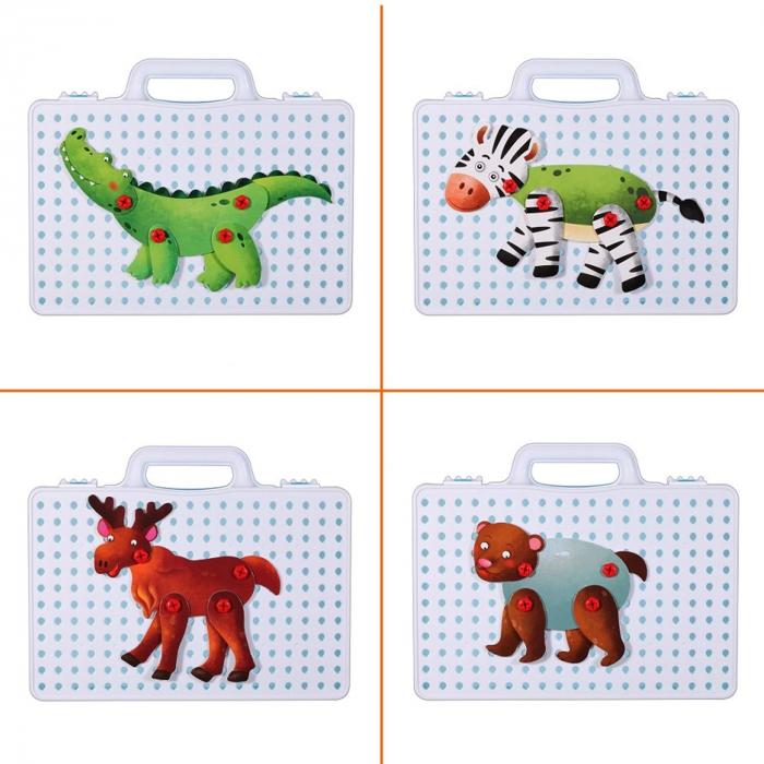 Jucarie educativa puzzle creativ Animale DYI cu valiza si surubelnita 120 piese [4]