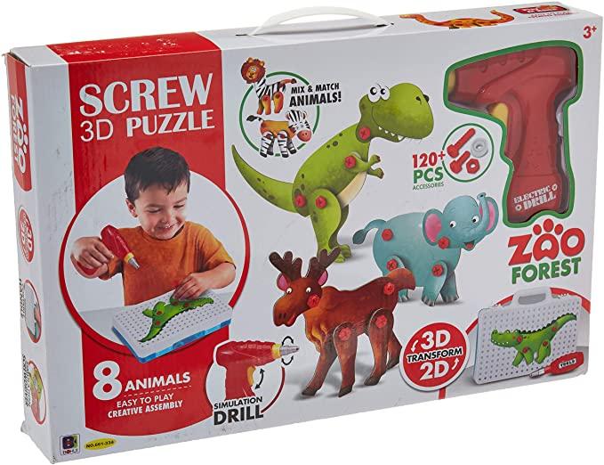 Jucarie educativa puzzle creativ Animale DYI cu valiza si surubelnita 120 piese [0]