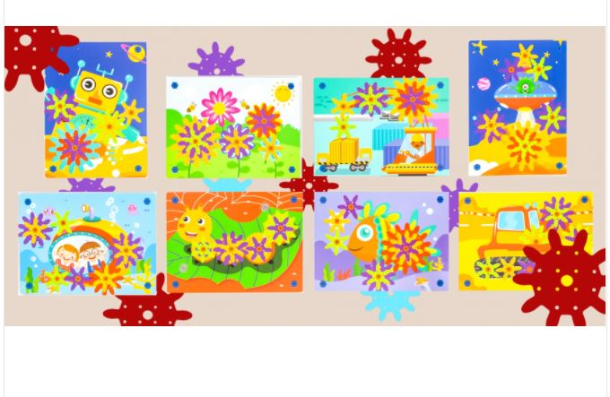 Jucarie educativa puzzle creativ Gear DYI cu valiza si surubelnita [6]