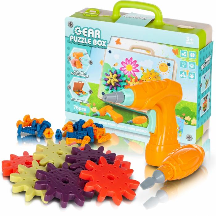 Jucarie educativa puzzle creativ Gear DYI cu valiza si surubelnita [0]