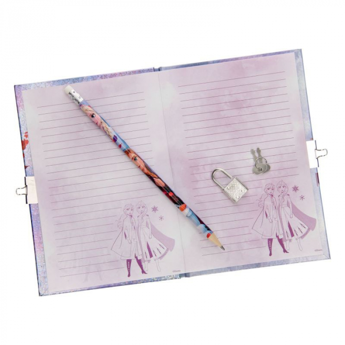 Jurnal frozen cu creion mov sclipici 1
