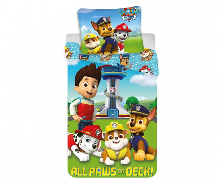 Lenjerii de pat copii, Paw Patrol, All Pups on Deck 2 piese 100x135 cm, 40x60 cm [0]