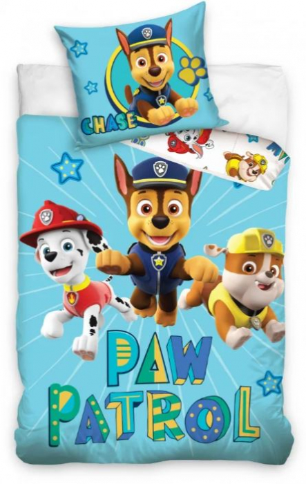 Lenjerii de pat copii, Paw Patrol Chase in the air 2 piese 100x135 cm, 40x60 cm [0]