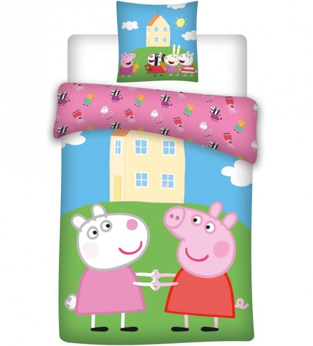Lenjerii de pat copii, Peppa, 2 piese 100x135 cm, 40x60 cm [0]