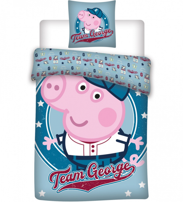 Lenjerii de pat copii, Peppa Pig George, 2 piese 100x135cm, 40x60 cm [0]