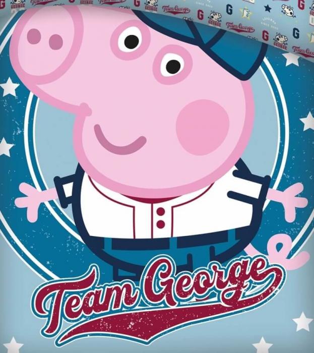 Lenjerii de pat copii, Peppa Pig George, 2 piese 100x135cm, 40x60 cm [1]