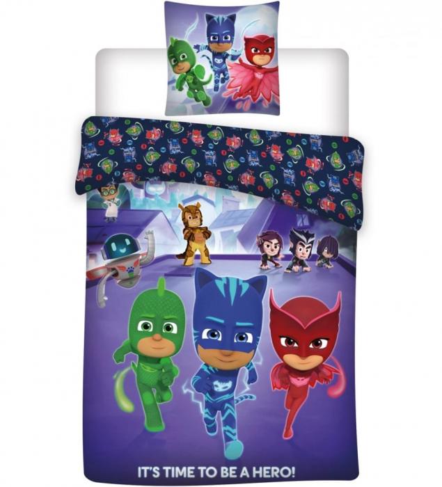 Lenjerii de pat copii PJ Masks, 2 piese 100x135cm, 40x60 cm 0