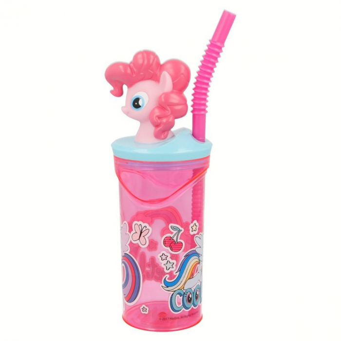 Pahar My little Pony cu capac si pai plastic 360 ml 2