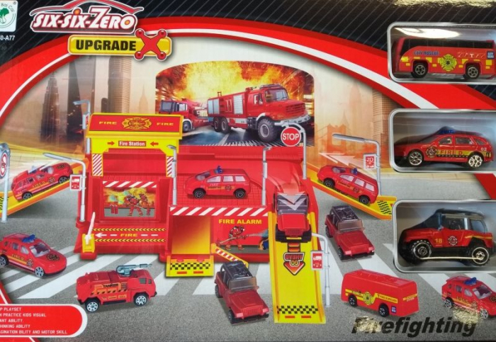 Set parcare si accesorii Statie Pompieri 41x25x6.5 cm [0]