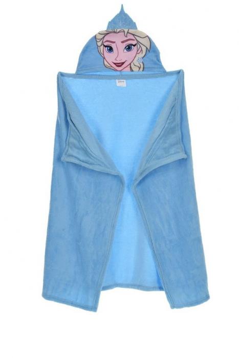 Patura copii cu gluga Frozen bleu cocolino 80 x120 cm [0]