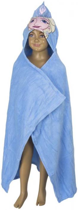 Patura copii cu gluga Frozen bleu cocolino 80 x120 cm [3]