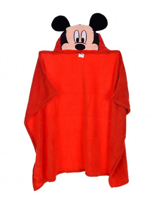 Patura copii cu gluga Mickey Mouse cocolino rosu 80 x120 cm 0