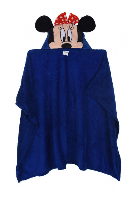 Patura copii cu gluga Minnie Mouse cocolino albastru 80 x120 cm 0