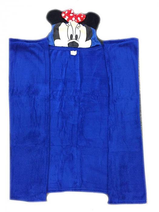 Patura copii cu gluga Minnie Mouse cocolino albastru 80 x120 cm 1