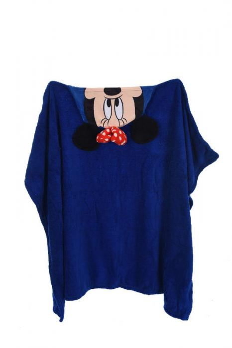 Patura copii cu gluga Minnie Mouse cocolino albastru 80 x120 cm 2