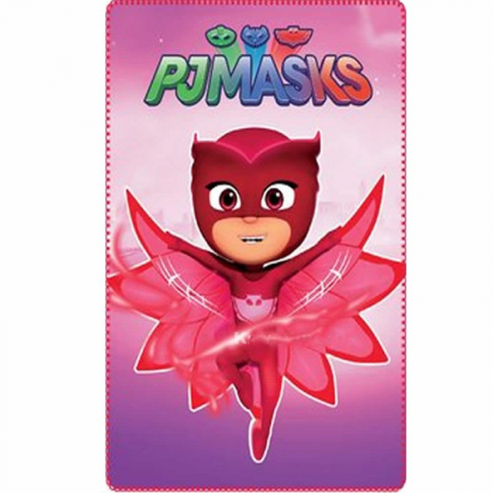 Patura polar PJ Masks - Eroi in pijama roz 100x150 cm [0]