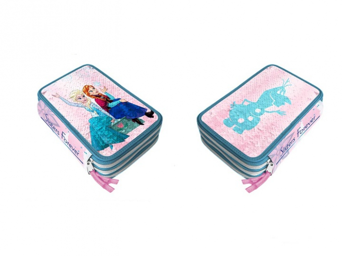 Penar Frozen echipat 3 fermoare,44 piese, paiete reversibile, 20x13x6 cm [1]