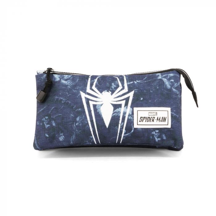 Penar triplu 3 fermoare Spiderman 'Poison' 23.5x11x5 cm 2