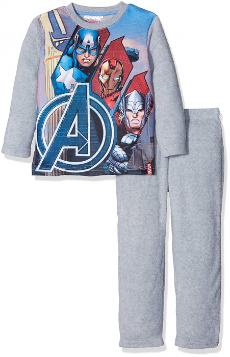 Pijama fleece Avengers gri 4 ani, 104 cm 0
