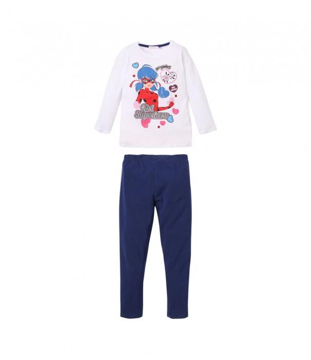 Pijama lunga Ladybug alb/bleumarin, 8 ani , 128 cm [0]