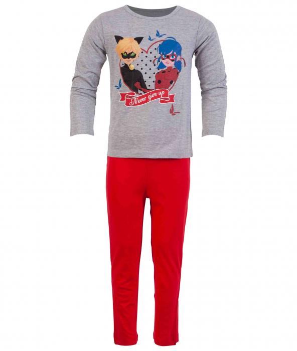 Pijama lunga Ladybug gri/rosu, 8 ani , 128 cm 0