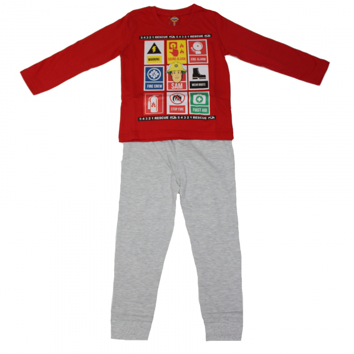 Pijama maneca lunga Sam Pompierul bumbac [0]